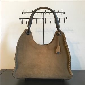 Gucci Brown Suede Whipstitch Wood Handle Hobo Bag